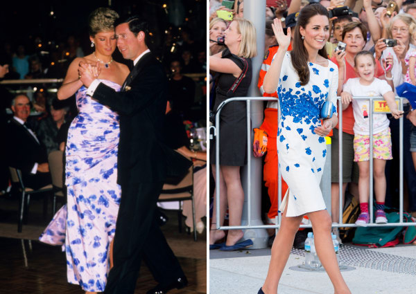 Princess Diana and Kate Middleton wearing a white dress with blue flowers