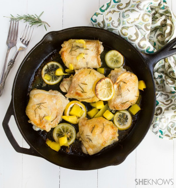 Crispy roasted chicken with mango and lemon