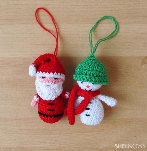 Amigurmi Santa & snowman Christmas ornaments