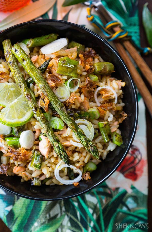Salmon and asparagus fried rice recipe