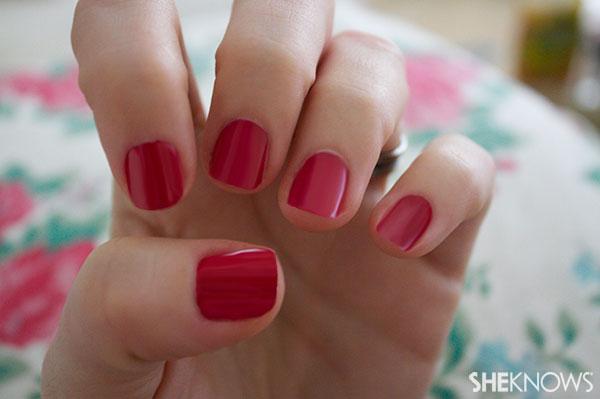 Christmas tree nail art tutorial Step 1 paint nails