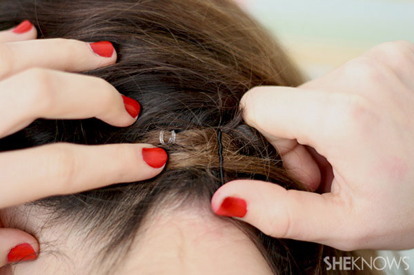 Half crown braid tutorial Step 5 pin braid to back of head