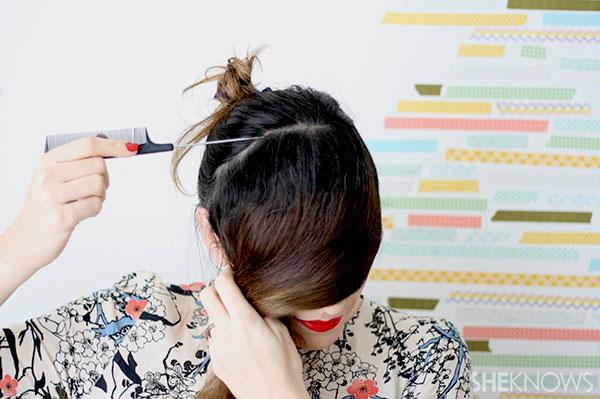 Half crown braid tutorial Step 1 part your hair
