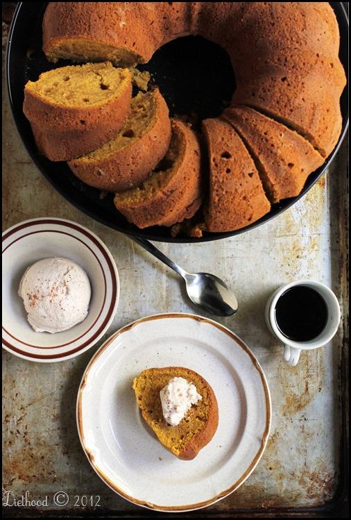 Pumpkin spice latte bundt cake with espresso whipped cream