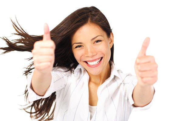 positive woman with thumb up