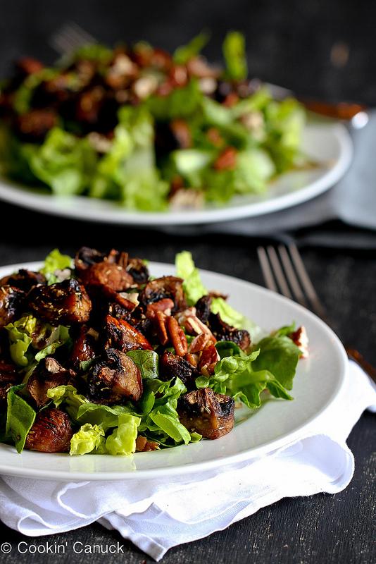 Roasted mushroom and romaine salad