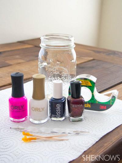 Marbled nail design with polka dots | Sheknows.com -- supplies