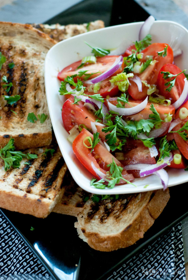 Rustic grilled bread with marinated tomatoes recipe