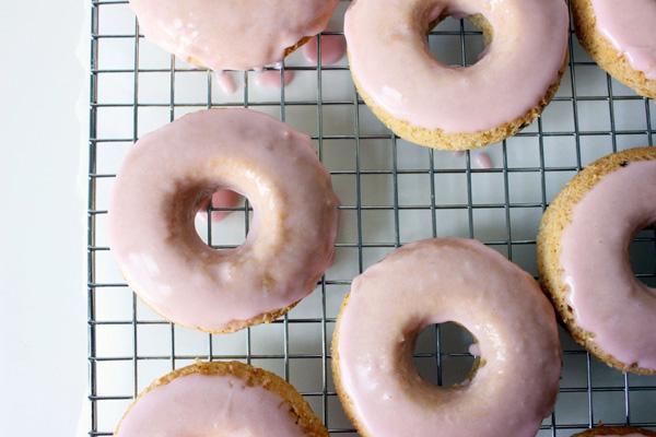 Rhubarb vanilla bean doughnuts