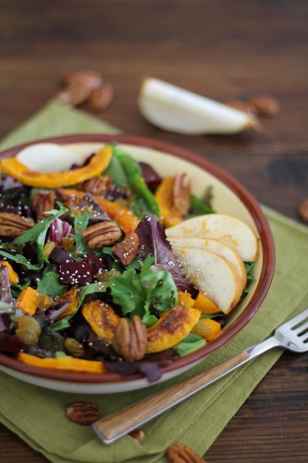Roasted fall vegetables salad with maple orange cinnamon dressing