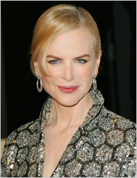 Nicole Kidman wearing a gray dress