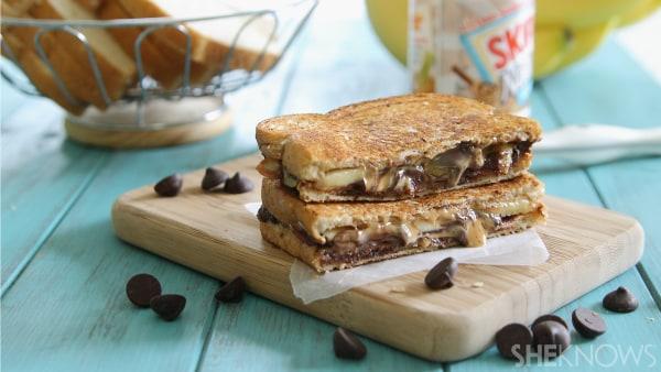 Peanut butter, banana bacon and chocolate panini