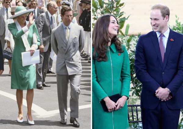 Princess Diana and Kate Middleton wearing green