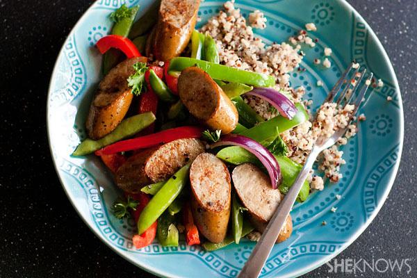 Organic chicken sausage and pepper stir fry