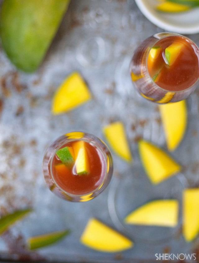 Mango and pomegranate spritzer
