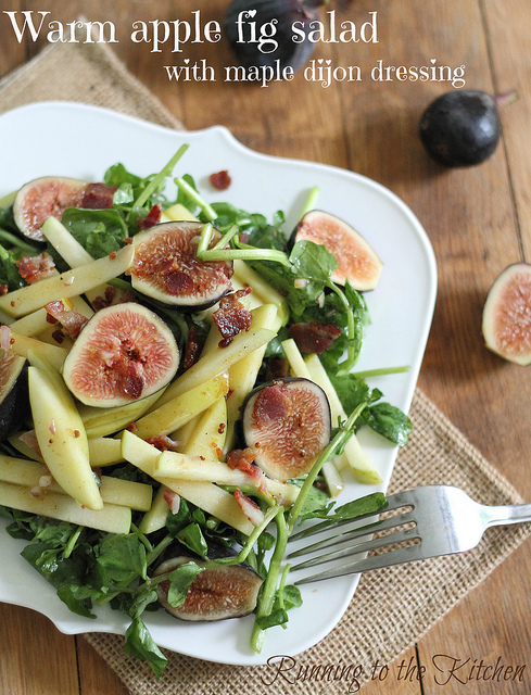 Warm apple and fig salad with maple dijon dressing