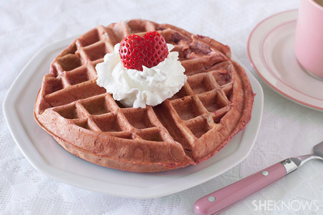 Pink strawberry waffles