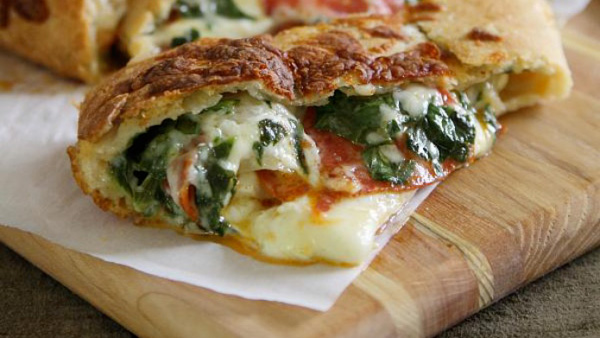 Gooey, cheesy pepperoni and spinach stuffed bread