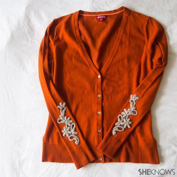 Sweater DIY: Embellished cut-outs | Sheknows.com -- final result
