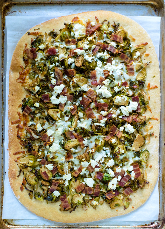 Balsamic Brussels sprouts bacon feta pizza