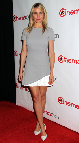 Cameron Diaz wearing a grey fit and flare dress