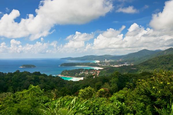 View Of Kata Noi Beach, Kata Beach And Karon Beach In Phuket, Thailand
