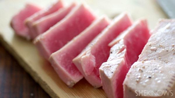 Ahi tuna cesear salad in a crispy bread bowl