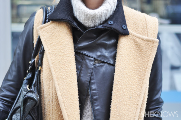 Layer your leather with other pieces for a cool winter look.