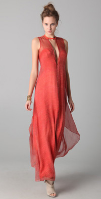 Fire red Willow Print-Plunge maxi dress