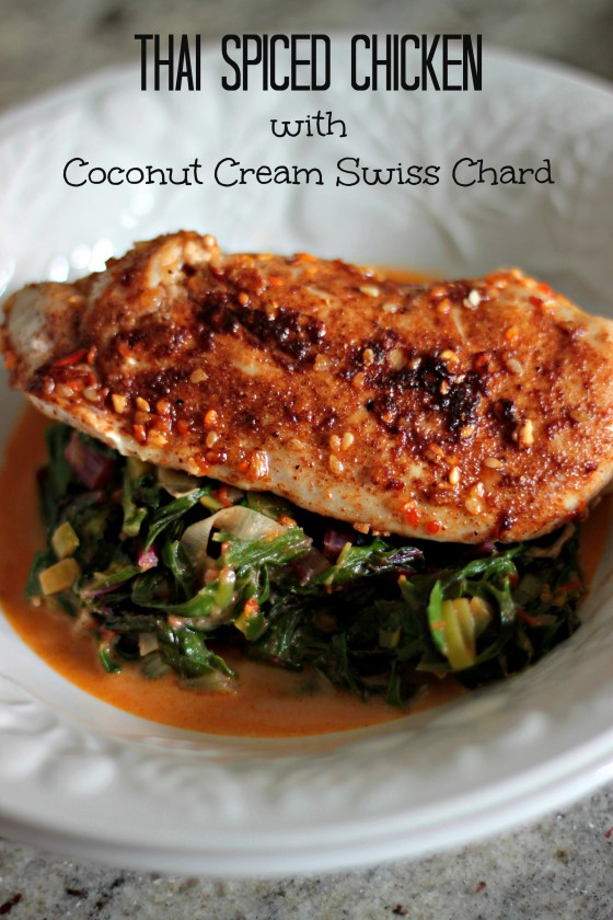 Thai spiced chicken with coconut cream Swiss chard
