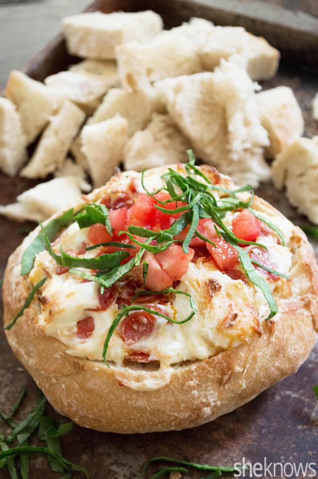 pizza dip in bread bowl