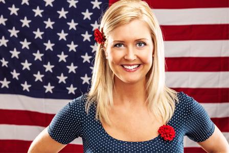 Patriotic tan woman