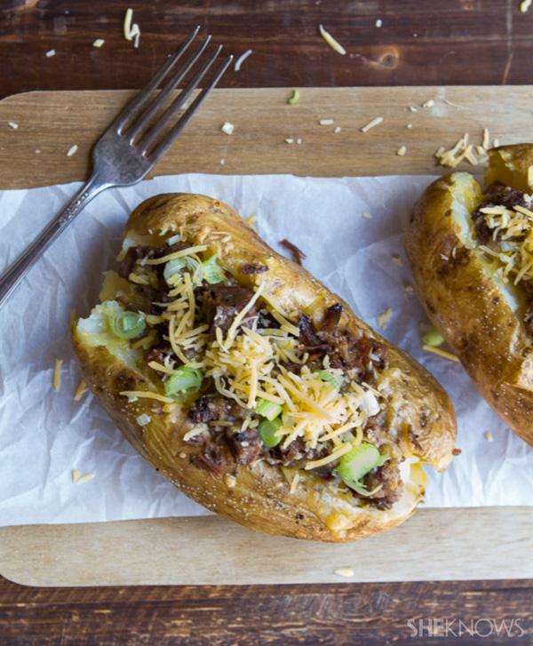 Brisket-and-cheese-stuffed jumbo potatoes
