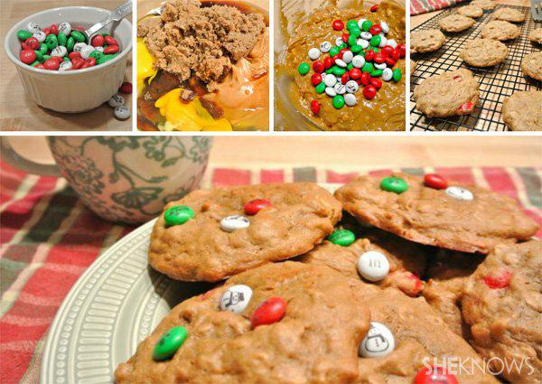 Peanut butter oatmeal cookies with M&M's