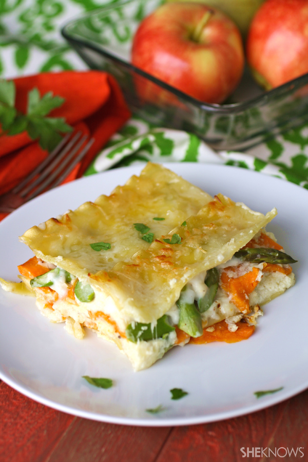 Creamy sweet potato & asparagus lasagna
