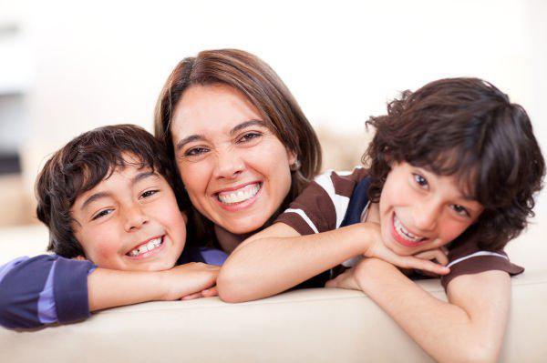 happy single mom with kids