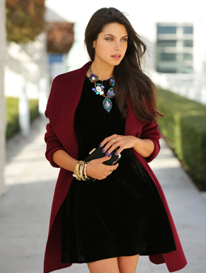 velvet tulip dress from Armani Exchange and wrap coat from Banana Republic