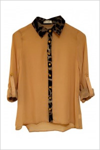 Nude Chiffon Button-Up Blouse With Animal Print