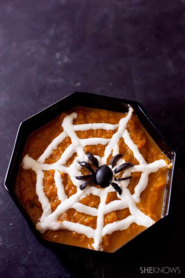 Spiderweb pumpkin soup recipe