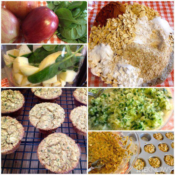 Apple-spinach mini muffins