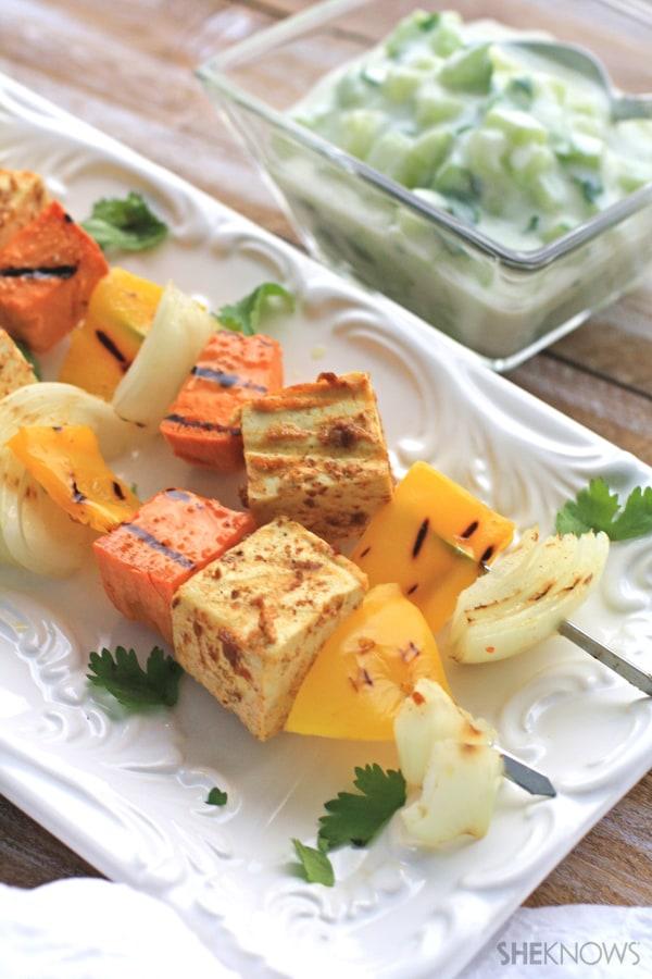 Grilled tandoori tofu with creamy cucumber salad