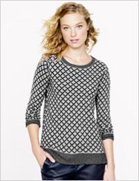 J. Crew cashmere diamond sweater (J. Crew, $190)