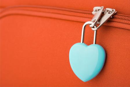Heart lock on suitcase