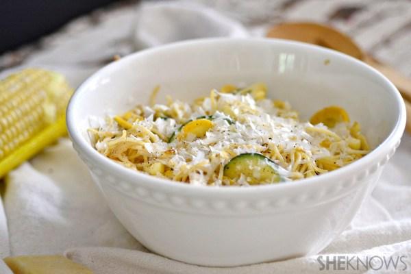Brown butter zucchini, squash and tomato pasta