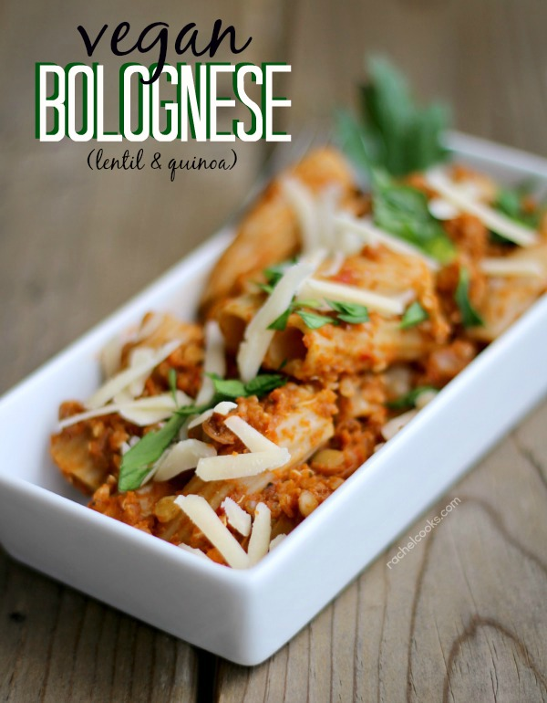 Vegan bolognese with lentils and quinoa