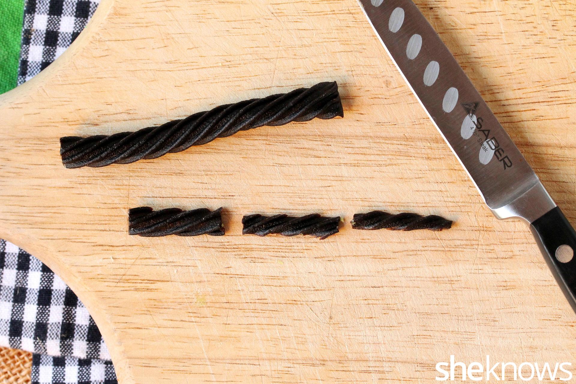 cut black licorice