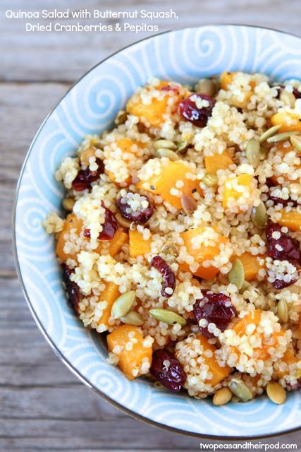 Quinoa salad with butternut squash, dried cranberries, and pepitas