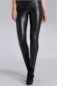 Hale Bob Black Leather Front Leggings