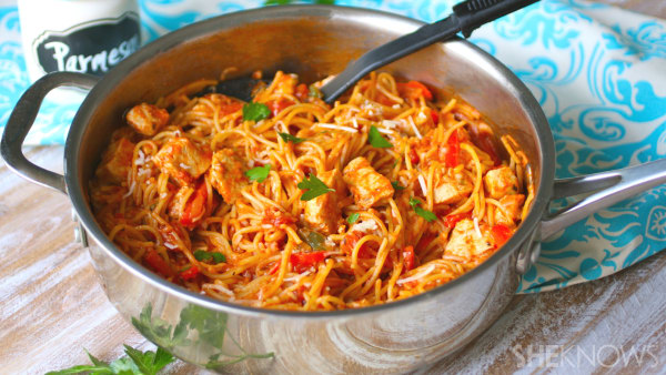 Spicy skillet chicken spaghetti1