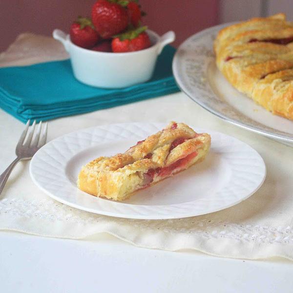 Braided strawberry rhubarb cheese danish